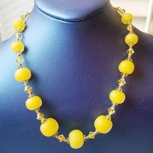 Jewelry - Handmade Lemon Drop & Crystal Necklace EUC